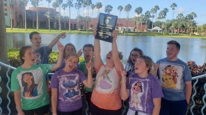 Lynn Camp Beta Club members are all smiles as they proudly display their 7th place plaque.