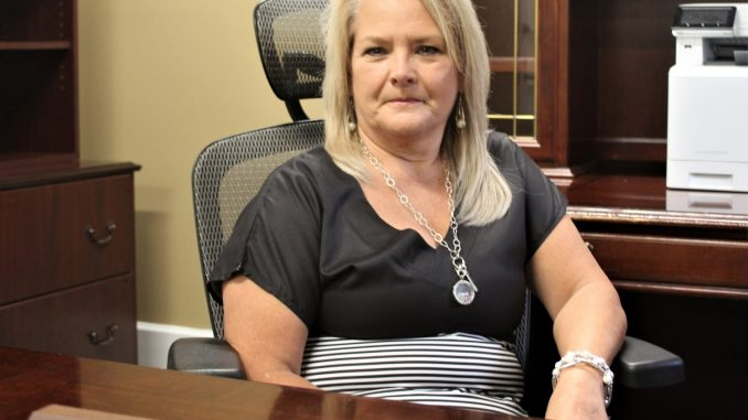 Sheila Terrell is shown in her new office at the district's Central Office building. She was recently hired as the Director of Elementary Education.