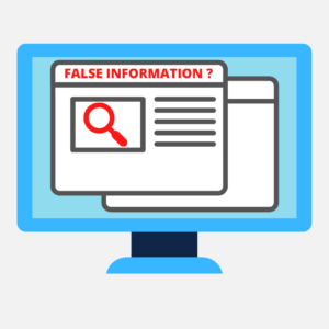 Clipart image of computer screen with false information wrote on screen.